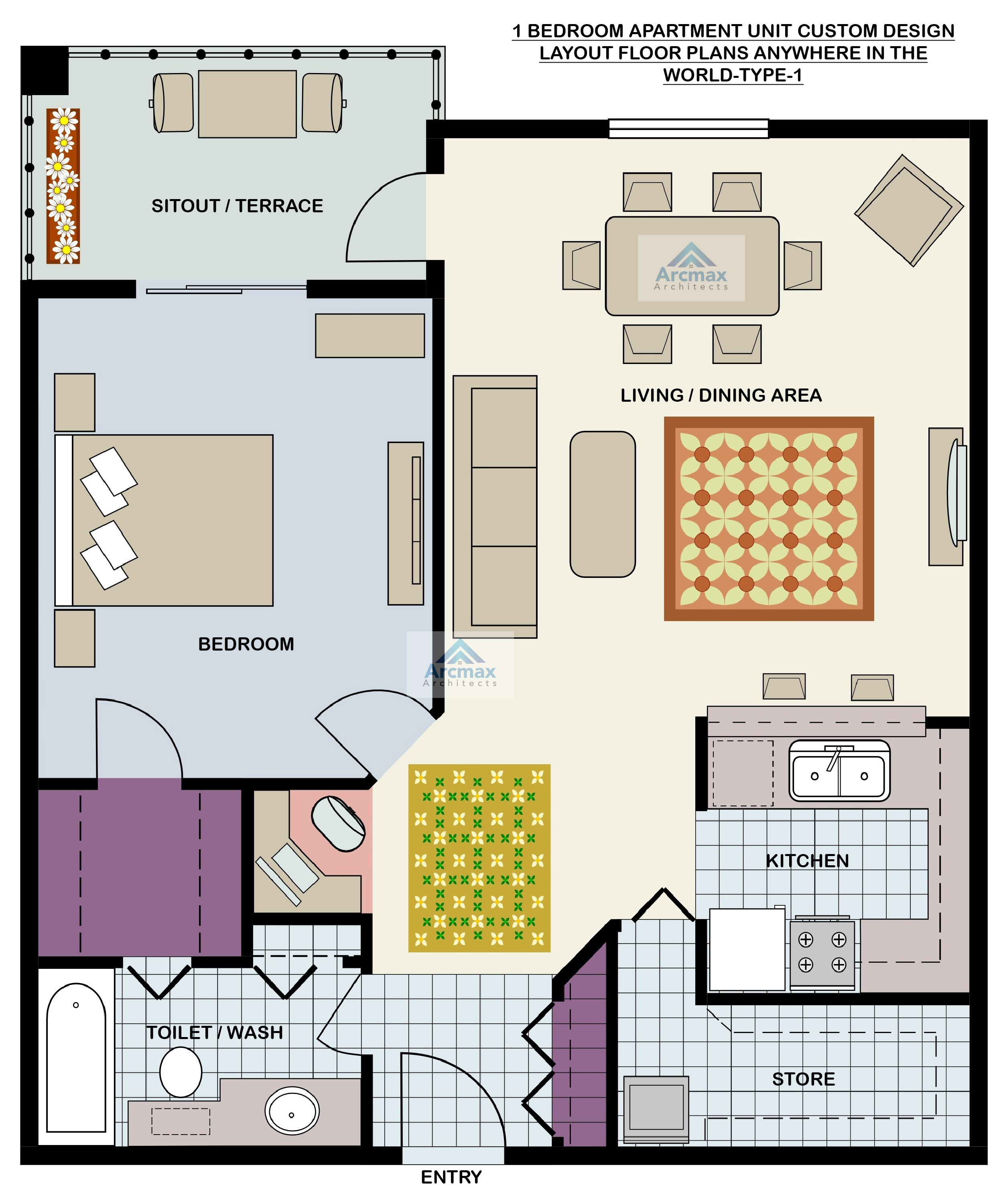 Low cost housing design home plans arcmax architects - Affordable three bedroom apartments ...