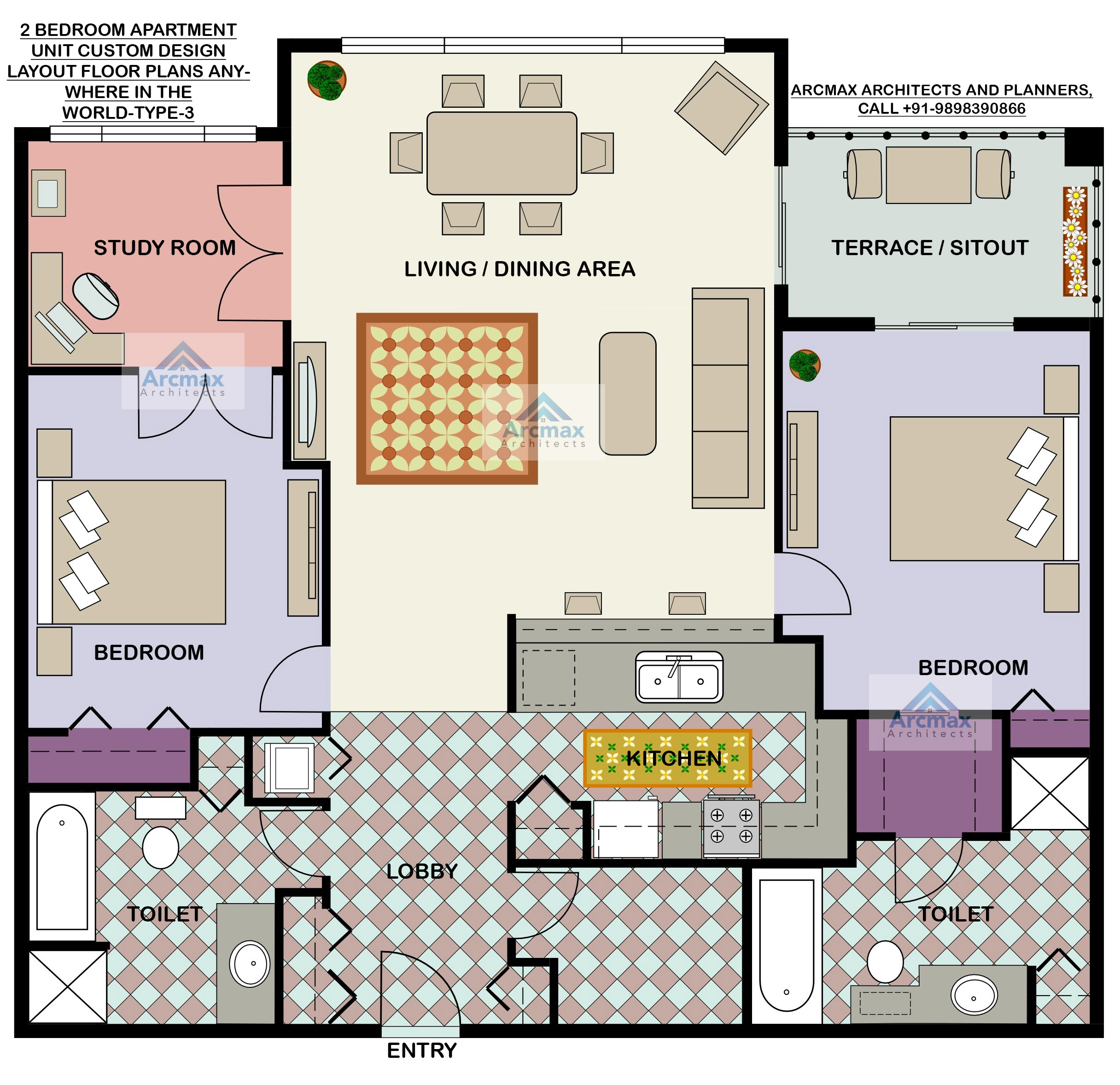 2 Bedroom Apartment Plans: Home Plans And Residence Plans