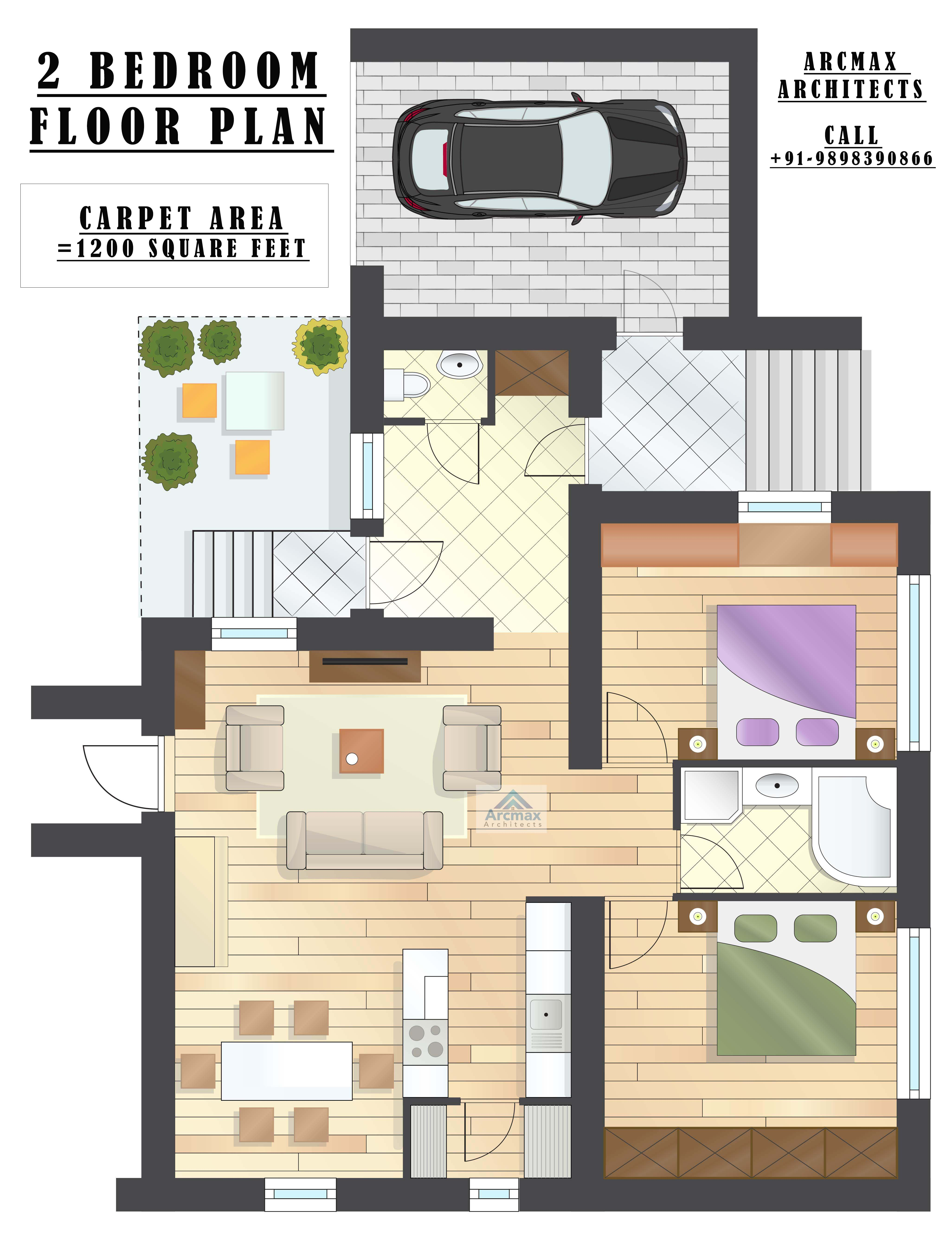 2 BEDROOM HOME PLANS AND FLOOR LAYOUT