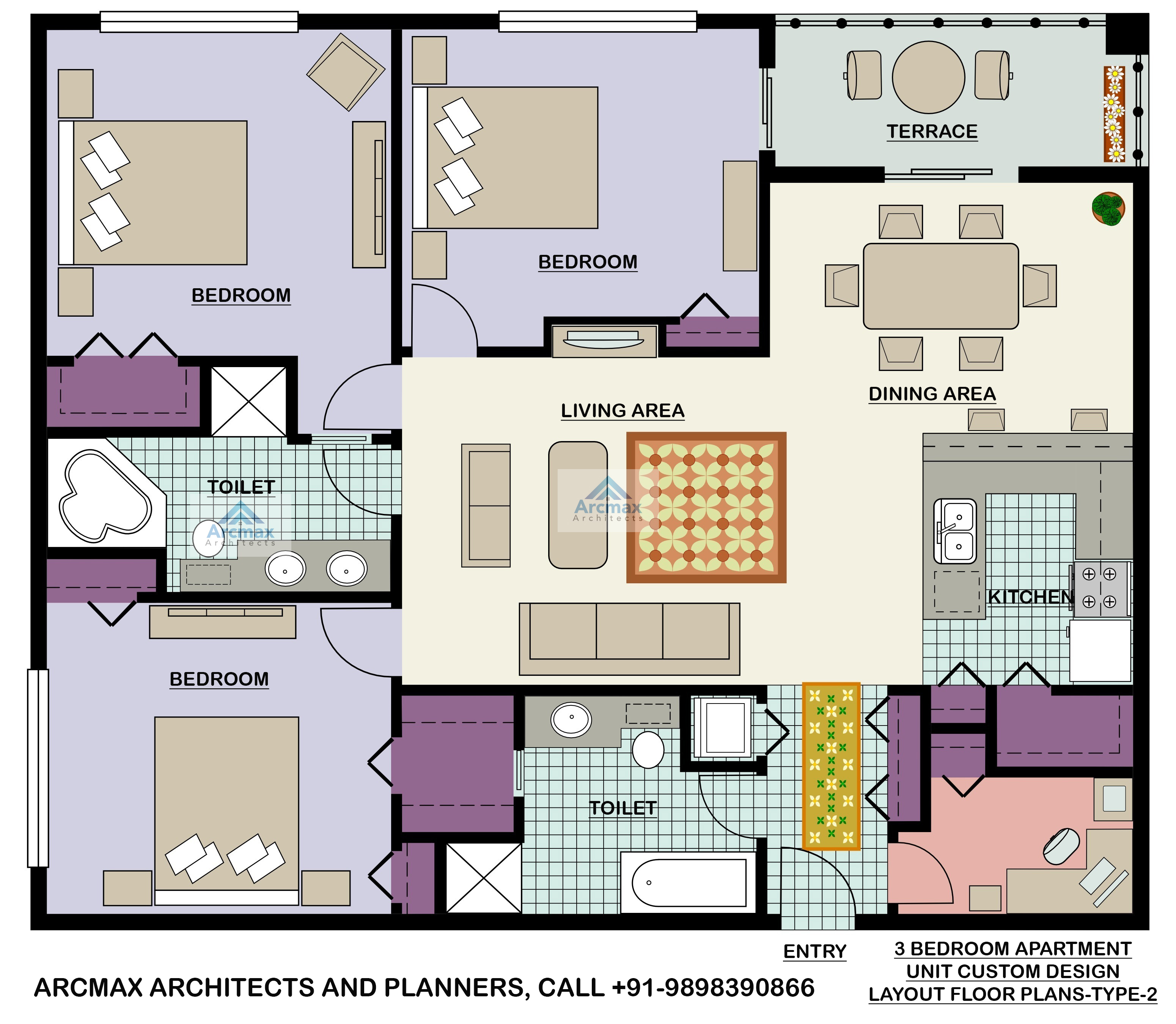 Three Bedroom Apartments: Home Plans And Residence Plans
