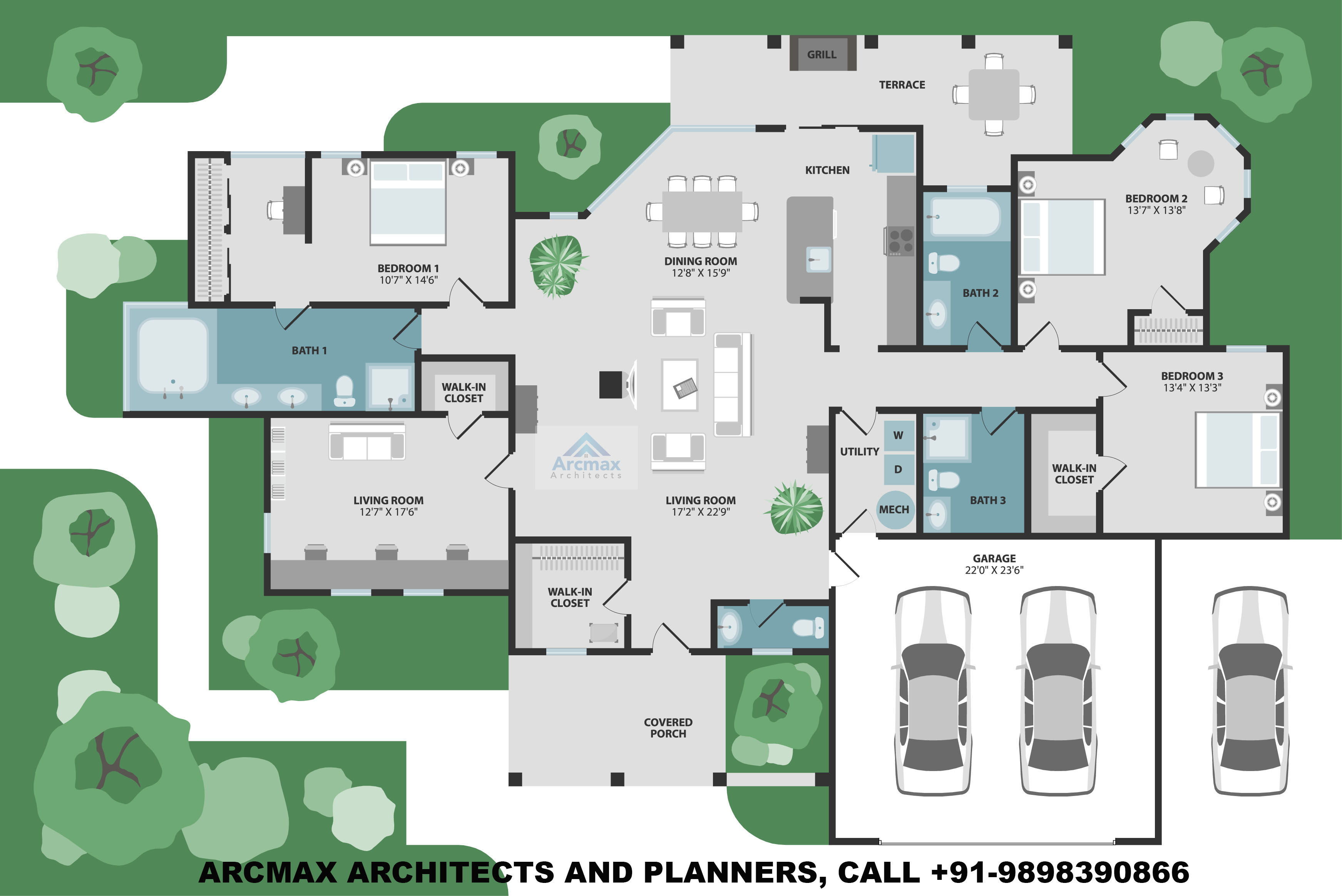 4bhk Luxury Villa Design Floor Plans Type 1 Arcmax Architects