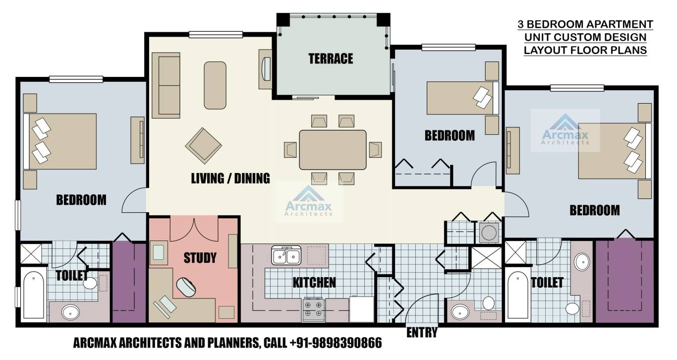 3 BEDROOM APARTMENT UNIT CUSTOM DESIGN LAYOUT FLOOR PLANS ANYWHERE IN THE WORLD